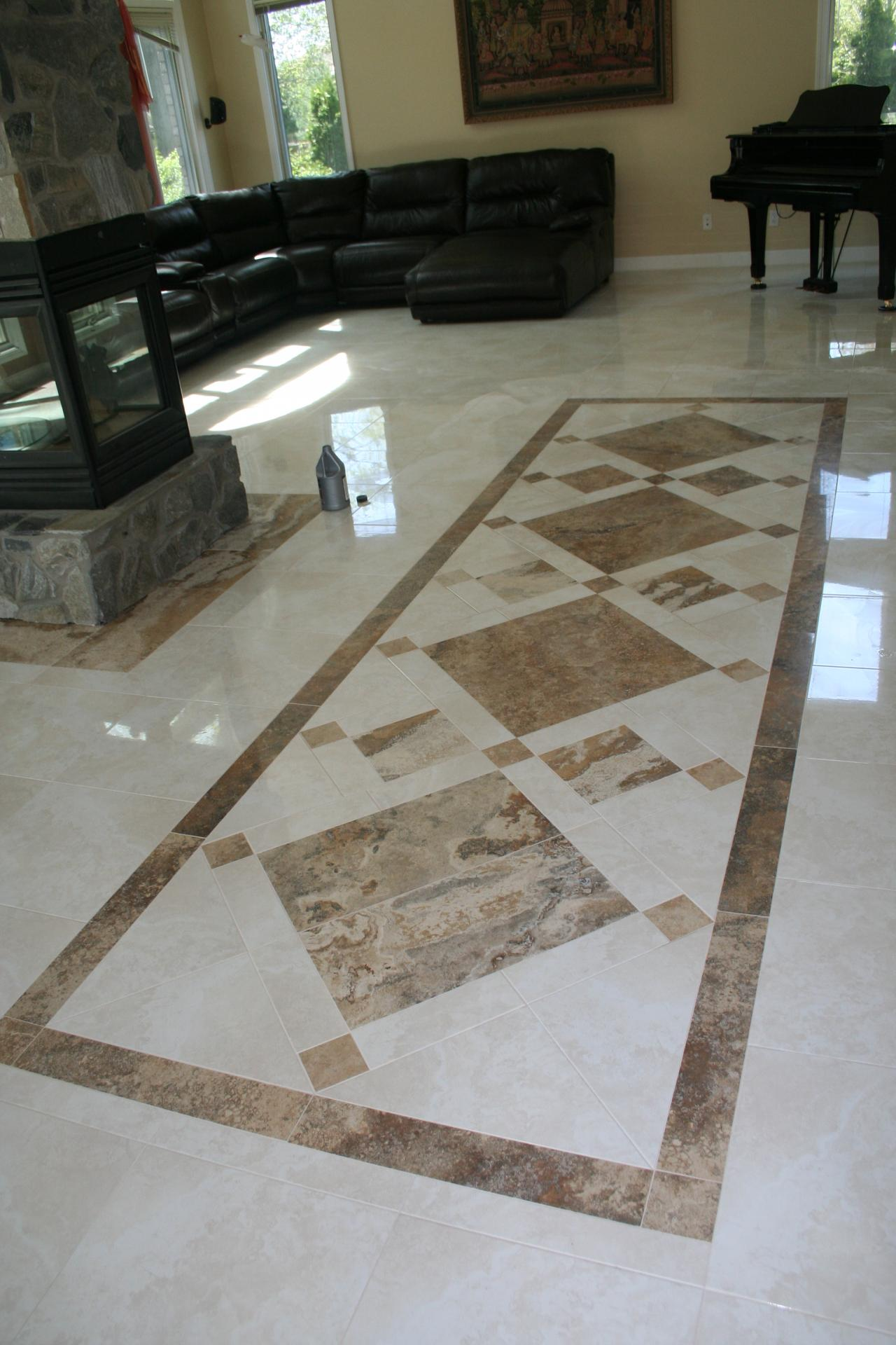 Nest homes construction floor and wall tile designs custom travertine inlay travertine custom design tile inlay large ceramic dailygadgetfo Image collections