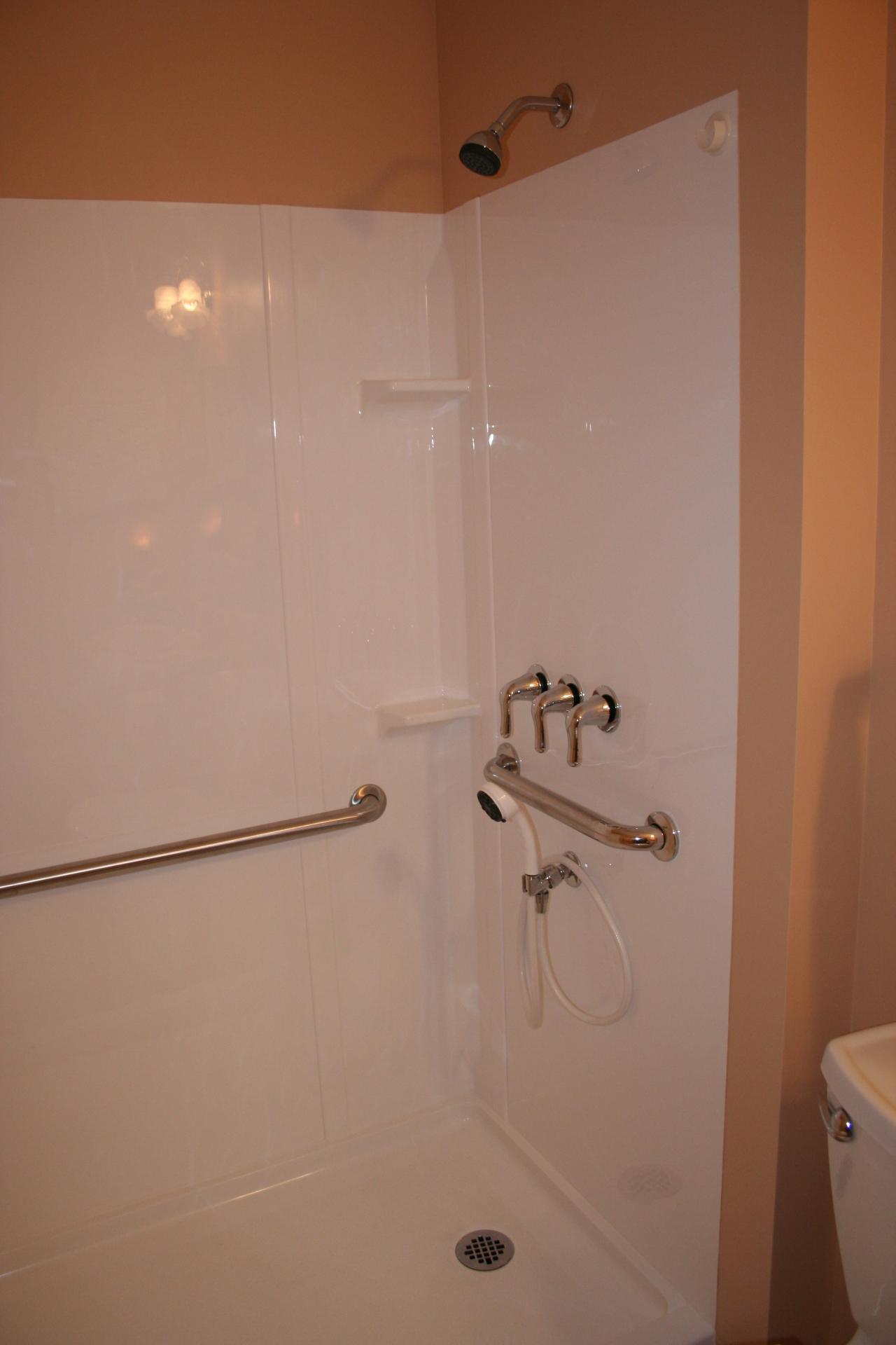 Fiberglass Shower Unit; Shower Is Large And Roomy For Handicapped Tenant ...